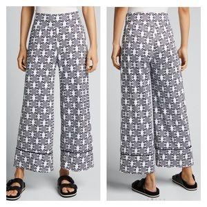 TEREZ Floral Print Wide-Leg Pants Black/White